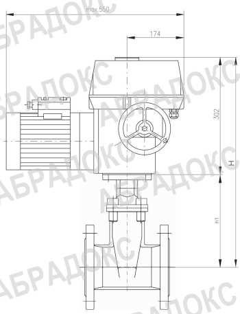 Чертеж габаритный. Клиновая задвижка ABRA с электроприводом,  с обрезиненным клином, Ду100, Ду126, Ду150