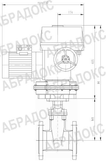 Чертеж габаритный. Клиновая задвижка ABRA с электроприводом,  с обрезиненным клином, Ду300, Ду350, Ду400