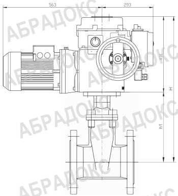 Чертеж габаритный. Клиновая задвижка ABRA с электроприводом,  с обрезиненным клином, Ду450, Ду500, Ду600