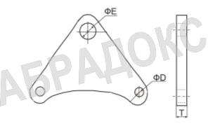 Крепежная пластина РУ10 для контрольных стержней для гибких вставок компенсаторов фланцевых ABRA