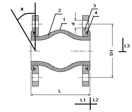Габаритные размеры, обозначения для заказа, вес и допустимые условия эксплуатации для гибких вставок фланцевых - антивибрационных компенсаторов NBR.