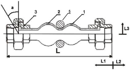 Габаритные размеры, обозначения для заказа, вес и допустимые условия эксплуатации для гибких вставок резьбовых - антивибрационных компенсаторов.