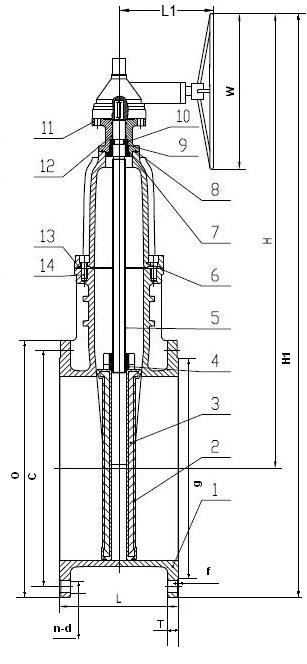Задвижка клиновая с обрезиненным клином и  невыдвижным штоком с редуктором.