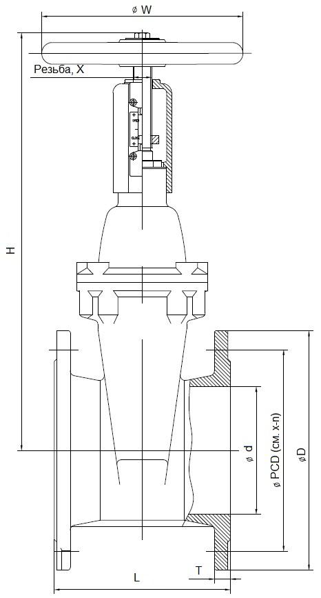 Перспективная на 2020 год модель задвижки пожарной с индикатором положения и невыдвижным голым штоком ABRA-A4010(16)GiXXX чугунной с индикатором положения или концевыми выключателями