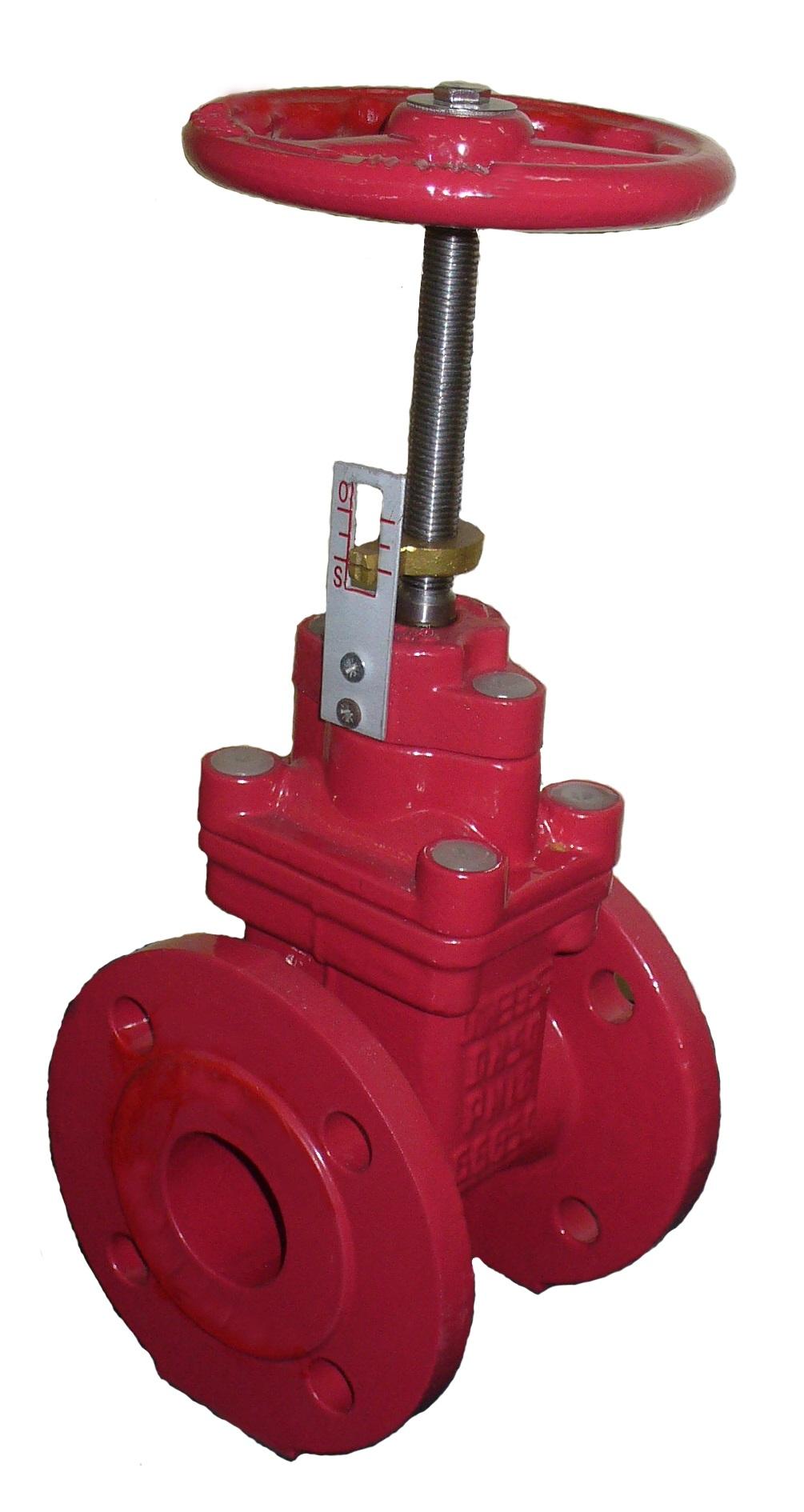 """Задвижка фланцевая чугунная клиновая с обрезиненным клином пожарная с индикатором положения """"Открыто""""/""""Закрыто"""" и невыдвижным штоком Ду 040-300 (1 1/2""""-12"""") Ру 10 и Ру16 (Типа МЗВП). Строительная длина DIN3202 F4 = EN558-1 GR (серия) 14. Код серии ABRA- A4010(16)GiXXX ."""