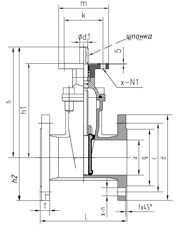 Задвижка клиновая с обрезиненным клином и невыдвижным штоком под установку электропривода или редуктора