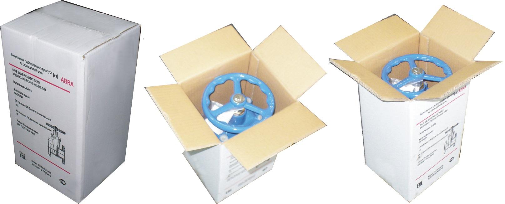 Упаковка стандартных обрезиненных задвижек ABRA малых и средних размеров