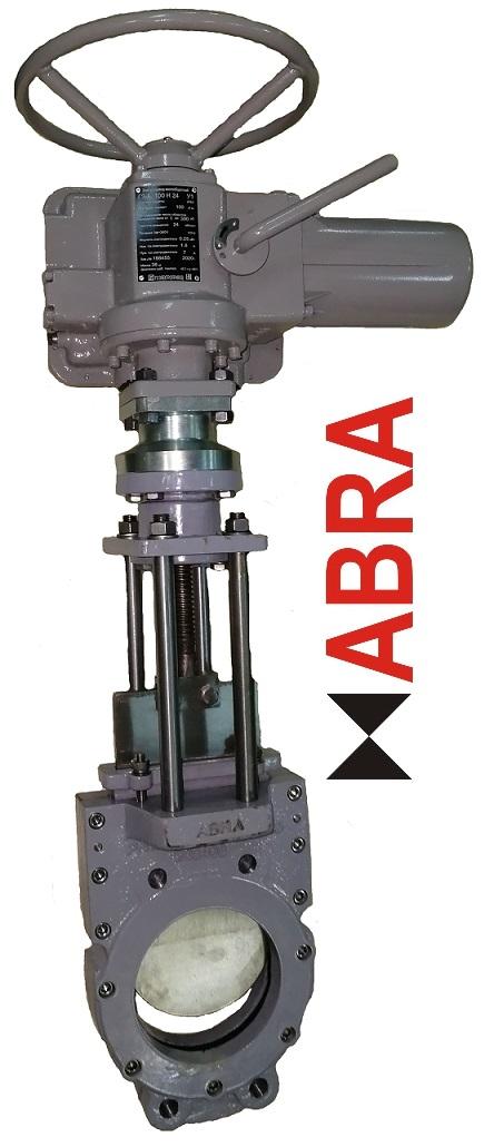 """Задвижки шиберные (затворы ножевые) ABRA-KV-03 с электроприводом 3x380В, выдвижной шток (OS&Y) двусторонние PN10 и PN16, DN050-600, GGG40/SS304/EPDM(NBR). Строительная длина EN558-1 GR (серия) 20 = ISO 5752 """"short"""" = EN558 S20 = DIN 3202 T3 K1 = ISO 5752 Series 20 = API 609 Table 1 = EN 593"""