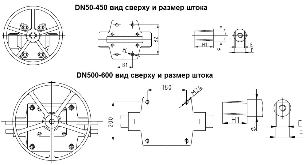 Шиберные задвижки ABRA KV01 - вид сверху и размер штока DN50-600