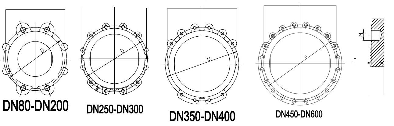 Схема присоединительных отверстий фланца - Задвижки шиберные ножевые DN(Ду) 50-600 PN(Ру) 10/16 двусторонние, корпус GGG40,  диск - SS AISI 304, седло EPDM. Серия ABRA-KV-01. Габариные размеры, веза, характеристики