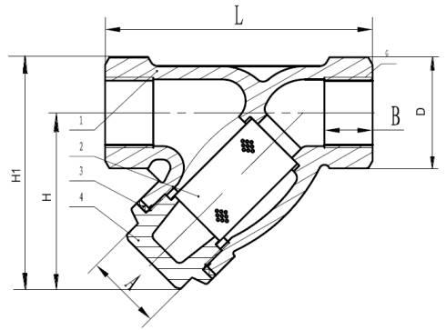 Чертеж габаритный фильтра сетчатого резьбового чугунного