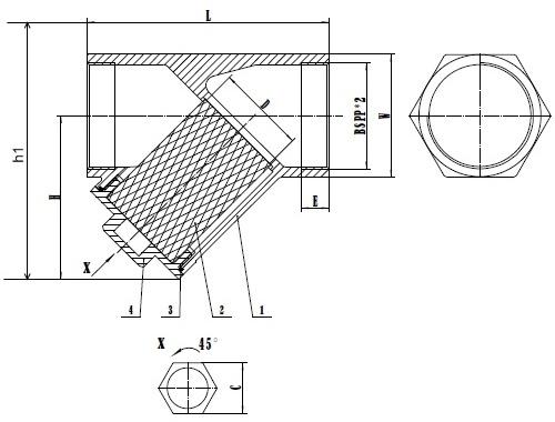 Чертеж габаритный фильтра сетчатого резьбового из нержавеющей стали SS316