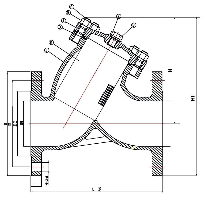 Фильтр сетчатый фланцевый из нержавеющей стали Ду 50-300 Ру 16, ABRA-YF-3000-SS316. Фланцы по ГОСТ. Фильтр фланцевый. Фильтр нержавеющий.