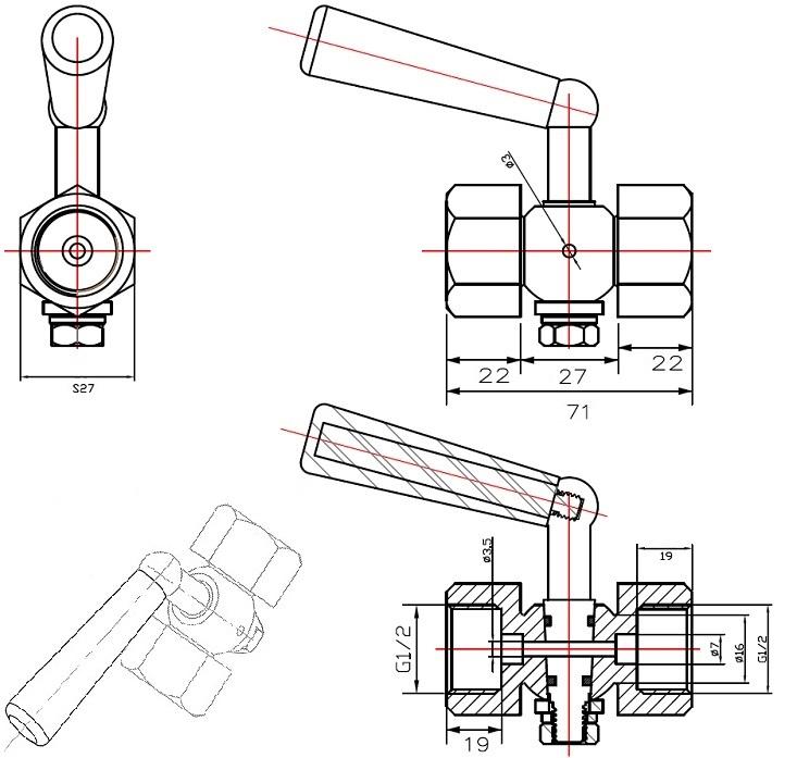Габаритные размеры в мм крана трехходового под манометр ABRA КМ Ду 015 Ру 20 резьбового(клапана к манометру).