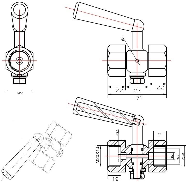 """Габаритные размеры в мм крана трехходового под манометр ABRA КМ VFM20-FGFM Ду 015 Ру 20 резьбового внутр.G1/2"""" / внутр. М20х1,5; (клапана к манометру)."""