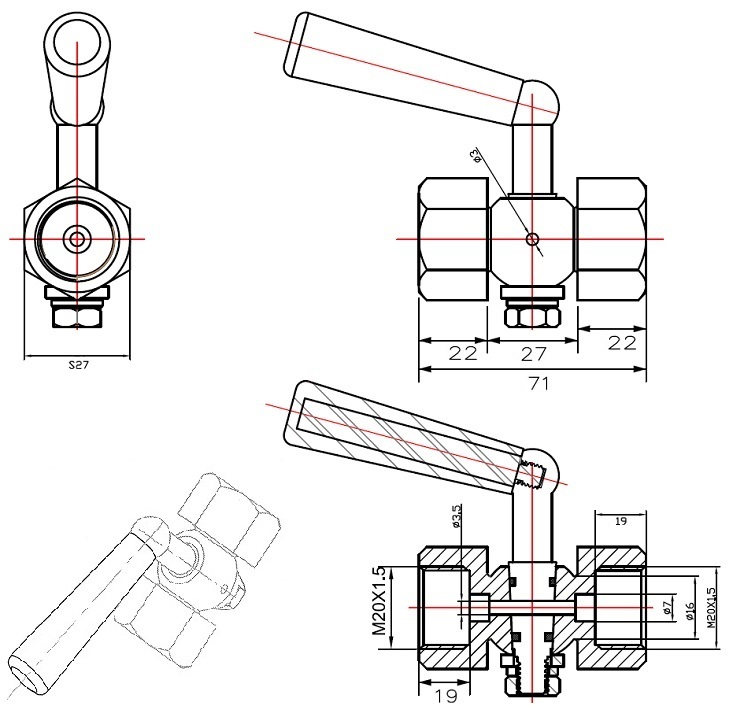 Габаритные размеры в мм крана трехходового под манометр ABRA КМ VFM20-FMFM (бывшийVFM20I015MM) Ду 015 Ру 20 резьбового внутр.М20х1,5 / внутр. М20х1,5 (клапана к манометру).