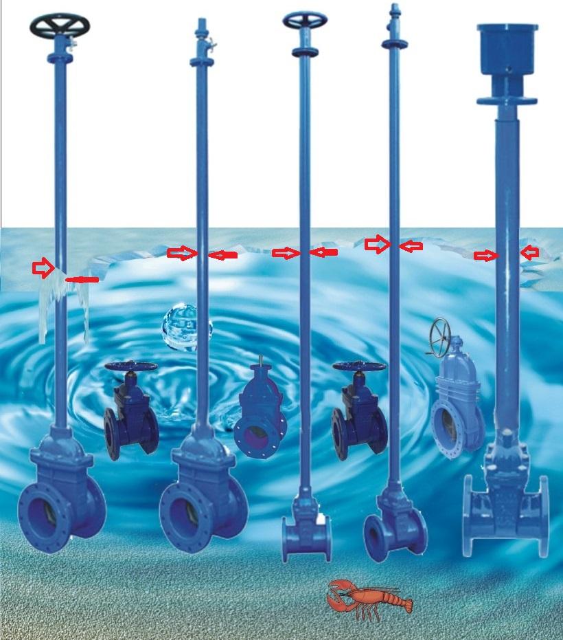 Затопление камеры с установленными задвижками грунтовыми водами и последующее похолодание.
